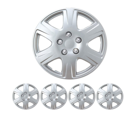 "BDK Toyota Corolla Style Hubcaps 15"" Wheel Cover - Silver Replica Cover, 4 Pieces Free Shipping"